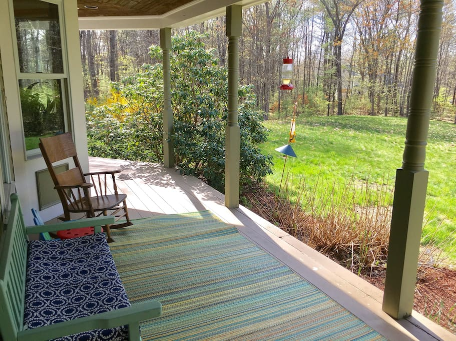 Front yard and front porch, with frequently visited hummingbird feeder.