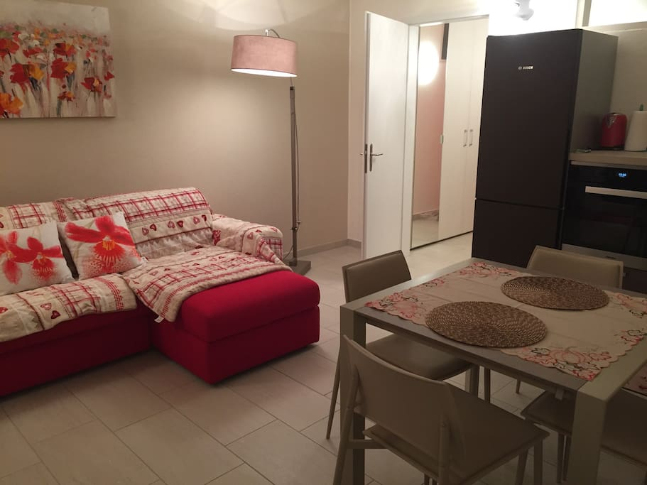 Grande soggiorno con cucina spaziosa con frigo congelatore e lavastoviglie, tavolo, divano letto matrimoniale e TV.