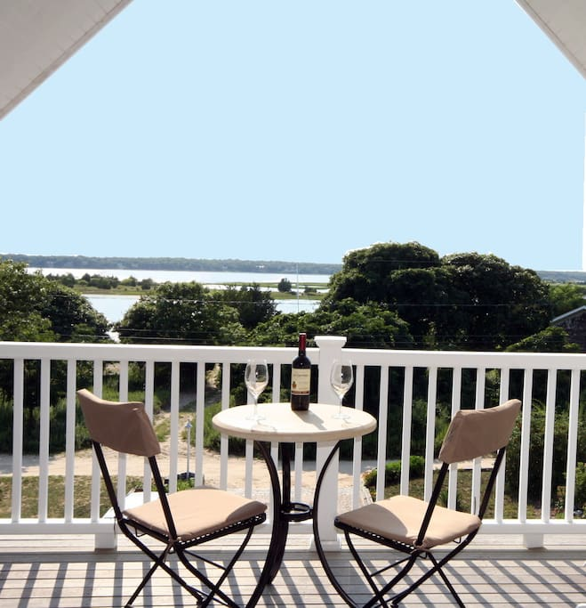 Private covered deck overlooking Harbor