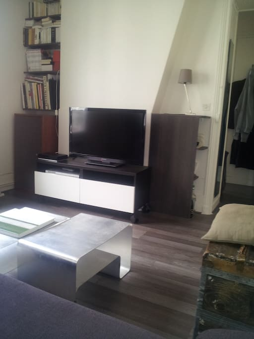 A big TV where you can also listen to the radio or plug an USB card or external drive to watch your favorites TV series (2 USB plug)