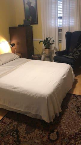 Queen sized air mattress in second bedroom ... air mattress changed to regular mattress