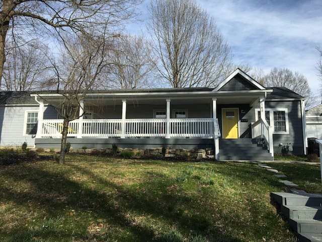 Front of house. Driveway parking available for 4-6 cars. Large front porch with swing for entertaining and enjoying the beautiful May Kentucky weather.