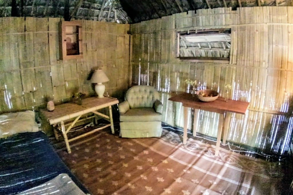This is a simple but very peaceful, relaxing and cozy accommodation.  We have 2 cots available or a double size air mattress depending on your preference.
