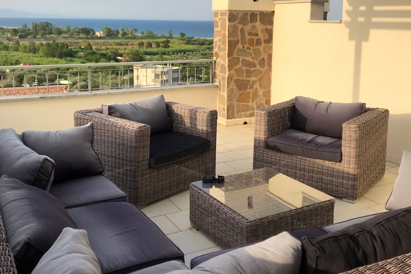 Top balcony with  launch furniture and sea view