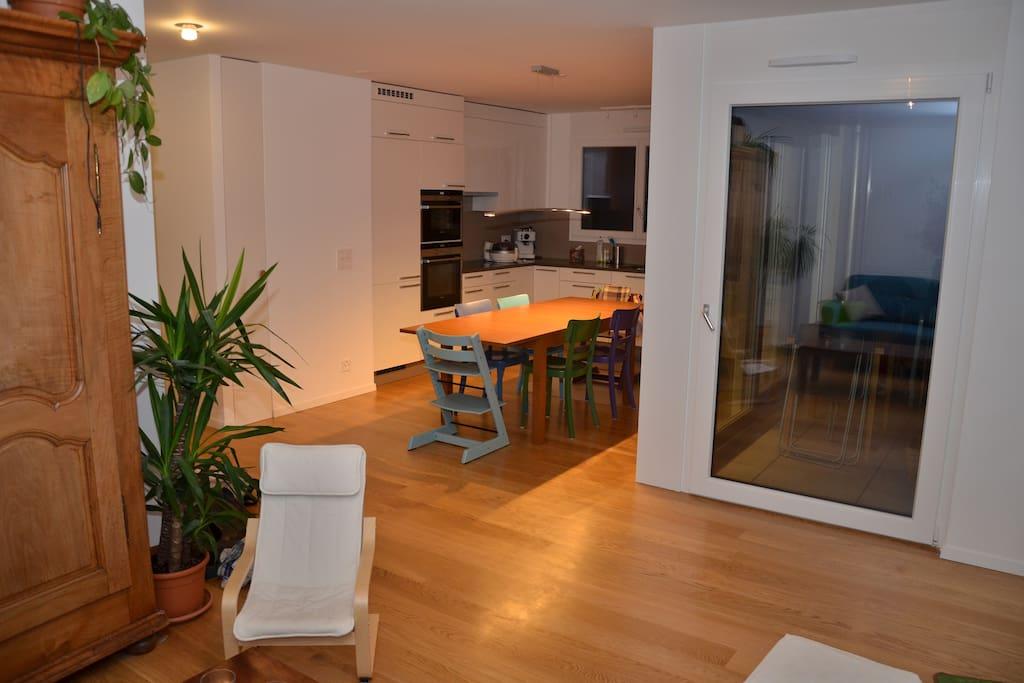 Salon, salle à manger et cuisine ouverte (grandes vitres, très lumineux)