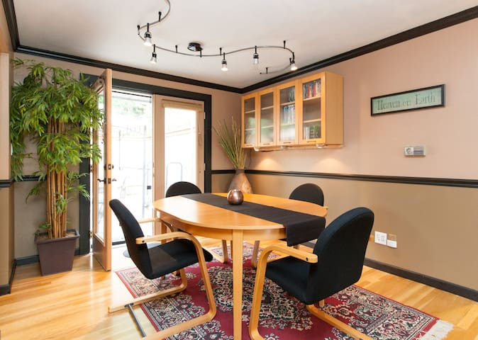 dining room with French doors to private patio
