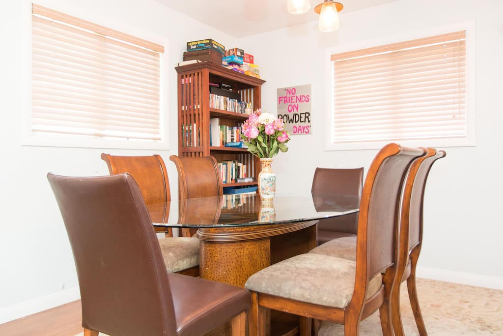 Dining table seats up to 8 comfortably