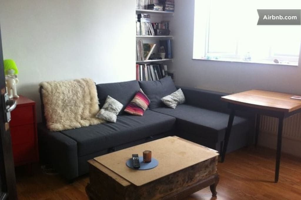 Bright living room with comfortable sofa