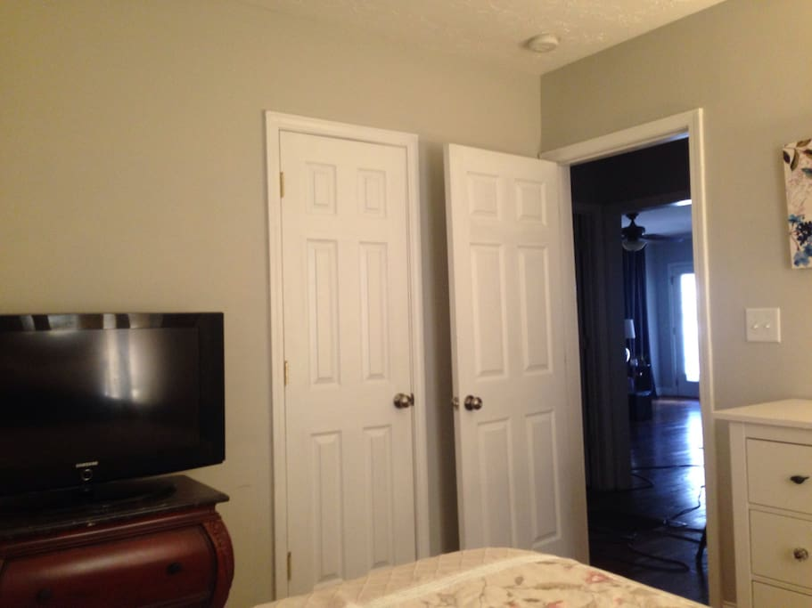 This room is one of three and fairly close to the entrance of the house and directly next to the private bathroom