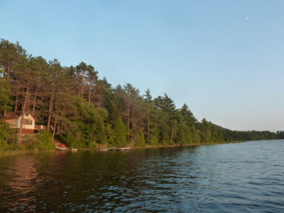 Lakeside waterfront cabin bordering Acadia, deck, dock, float, canoe, views and Loons