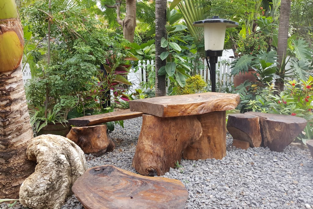 sitting area with natural wood