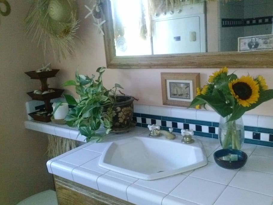 Spacious bathroom with deep tub and lots of counter space. Washer and dryer in bathroom.