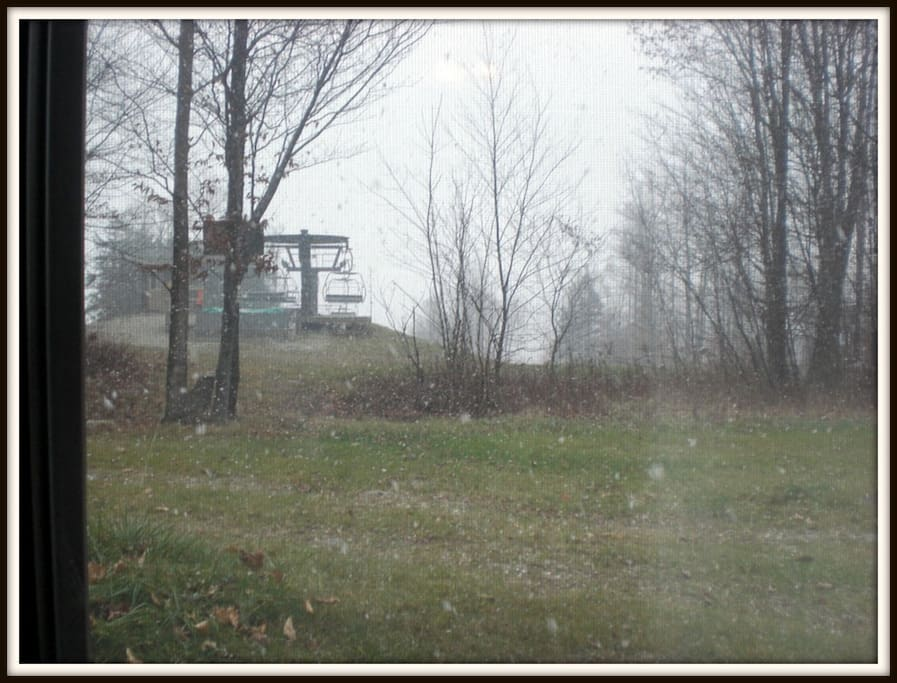View from the living room, 1st snowflakes November 2014...