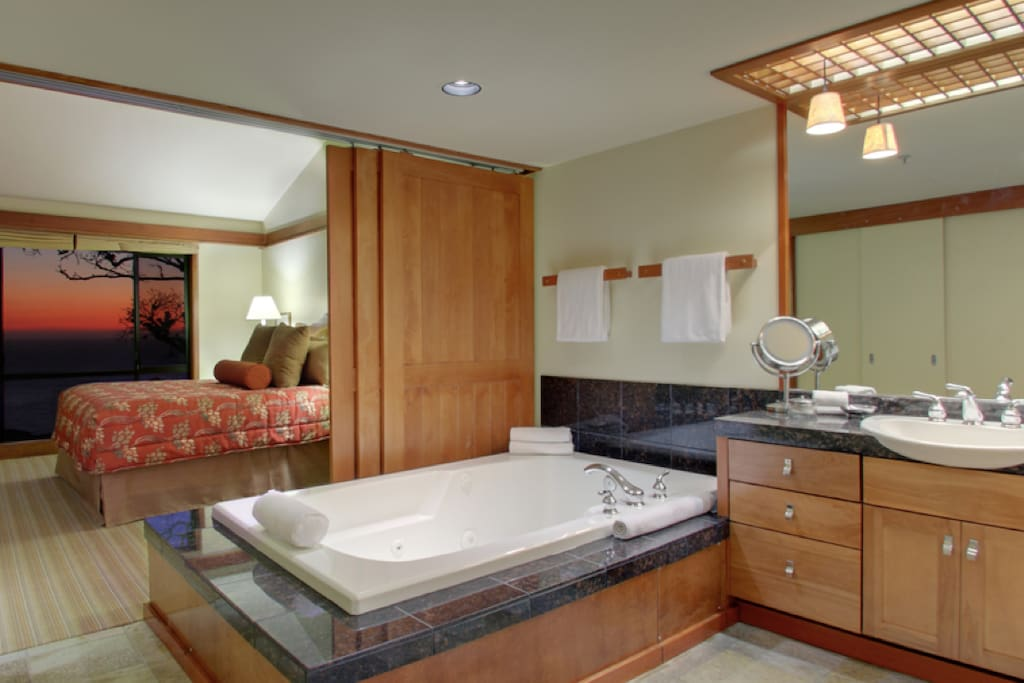 Soak together in extra large jacuzzi