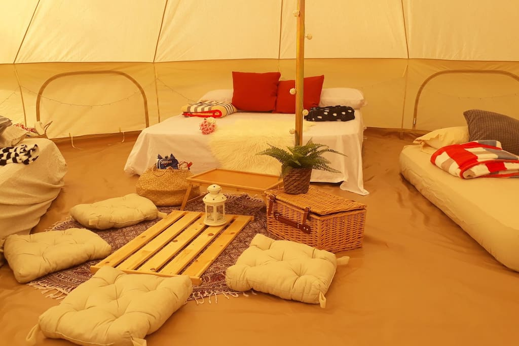 8Pax Glamping => 1x6m Bell Tent + 1x3mBell Tent + all the Beds/Linen etc