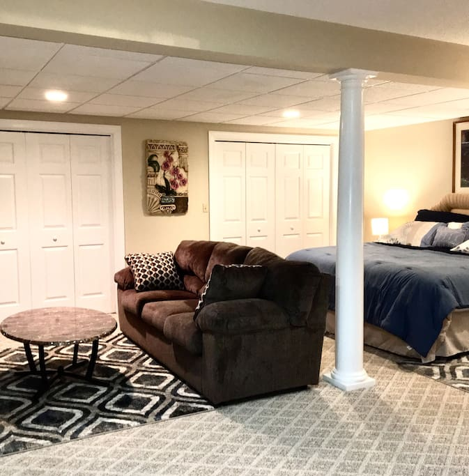 Relaxing den and bedroom combination with 2 large closets to hang and store your personal items. There are several night light flashlights located in the power outlets. If the power ever goes out, just pull the night light flashlights out to use to see your way around or out.