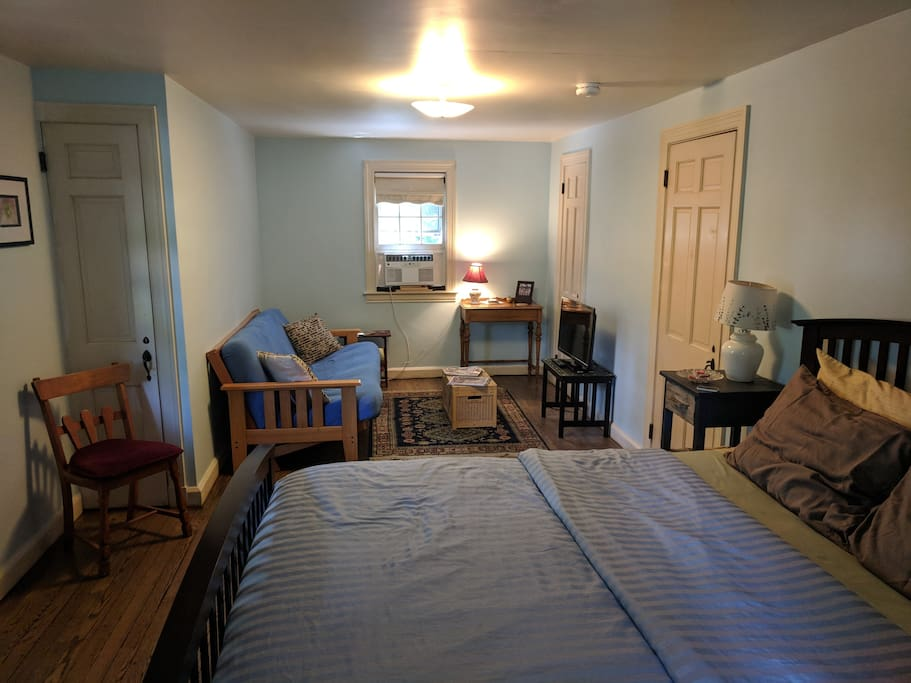Large guest room with futon.