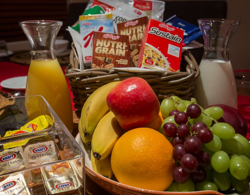 Continental breakfast is included within the daily tariff. Choice of white bread, brown whole meal bread , fruit bread or crumpets; Jams, veg e mite, honey muesli and a choice of cereals; yoghurt, orange juice, fruit in season tea and coffee.