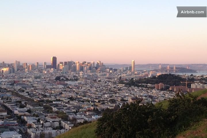 Here's the view from Bernal Hill Park which is just two short blocks away.