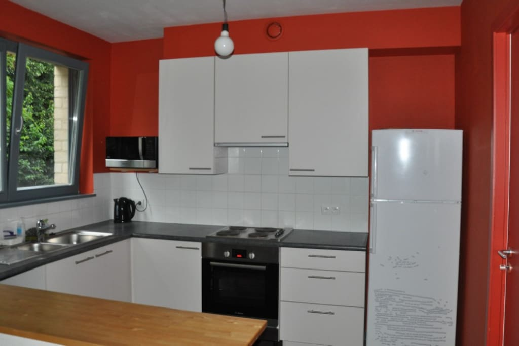 fully equipped kitchen (oven, fridge, dishwasher, microwave)