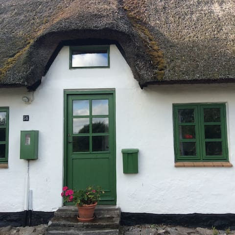 Typisk  stråtækt landhus.Egeskov. - Stenstrup