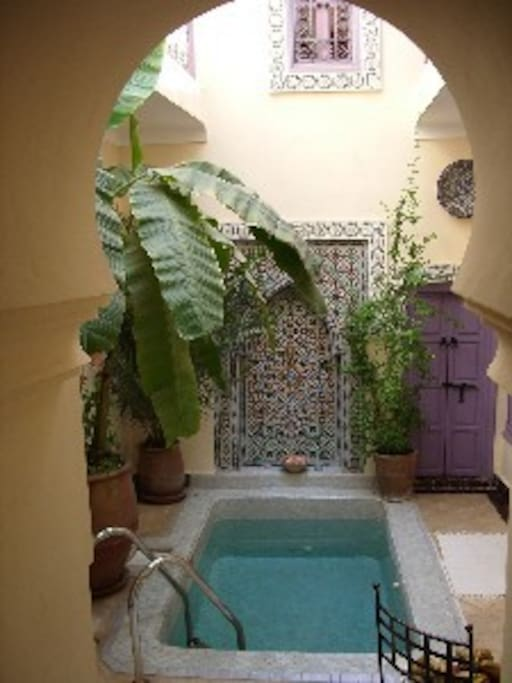 The open central courtyard has a plunge pool which proves essential during the hot summer months.