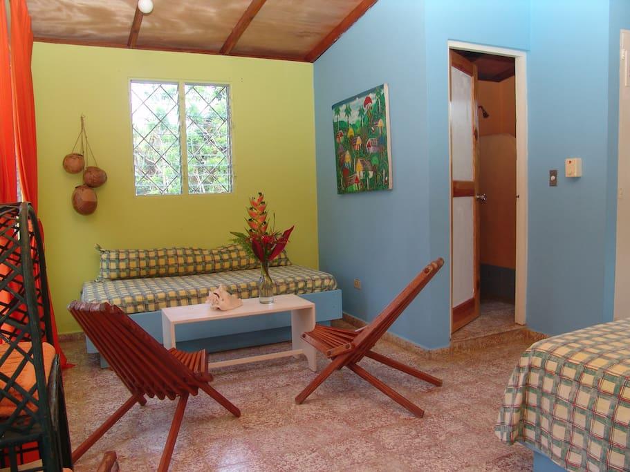 Another view of the second floor room.  The bathroom is through the open door.