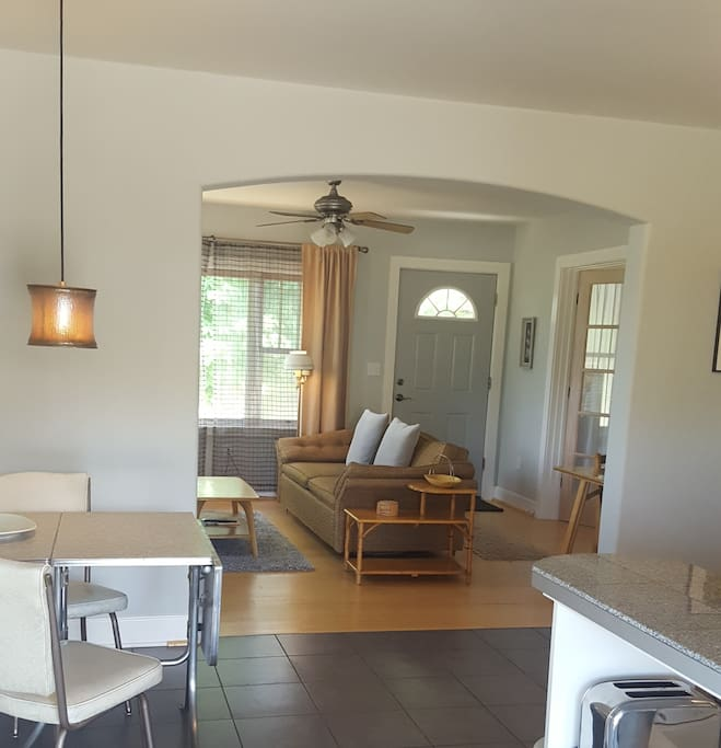 View from Entry Door into Kitchen and Living Room