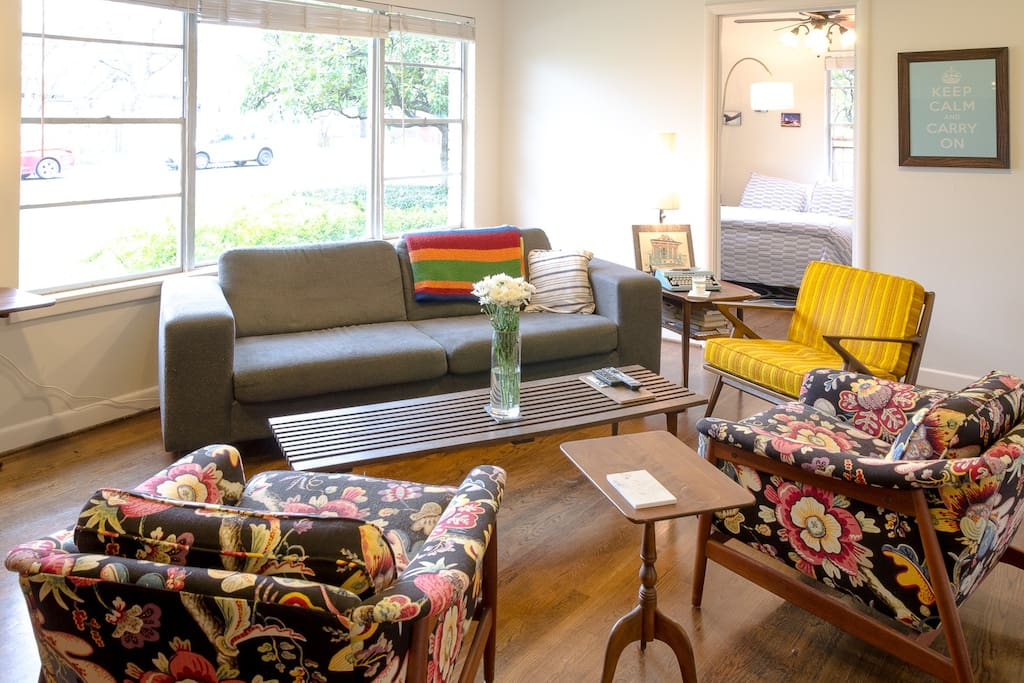 A fun, cozy, mid-century eclectic mix of style to enjoy the fun vibe of Austin.