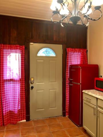 Brand new, pretty, retro fridge and microwave.
