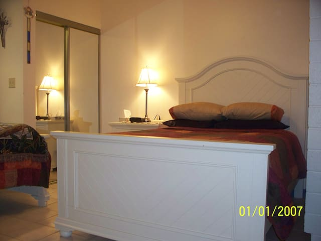 Canadian Room with new double and single beds - big sundeck off of this room.  Good for 2 or max 3 or couple and child