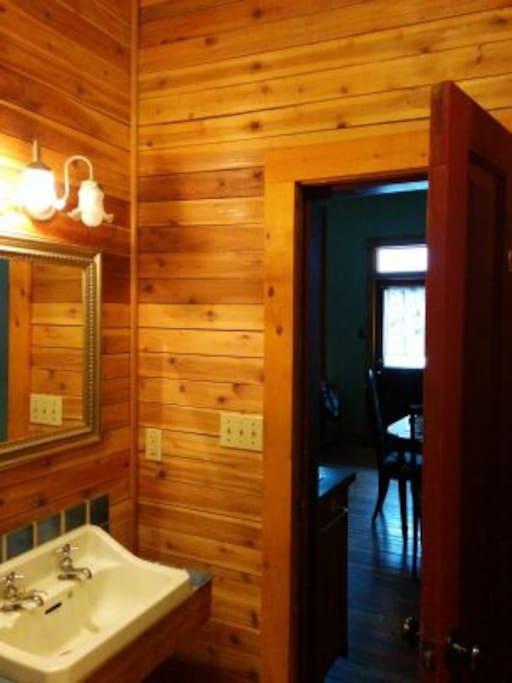 Cedar walled Bathroom