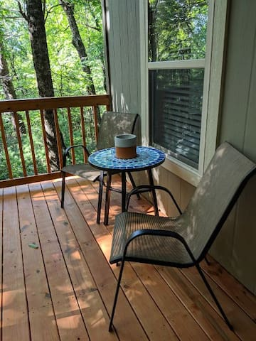 The lower level deck is great for early morning coffee.