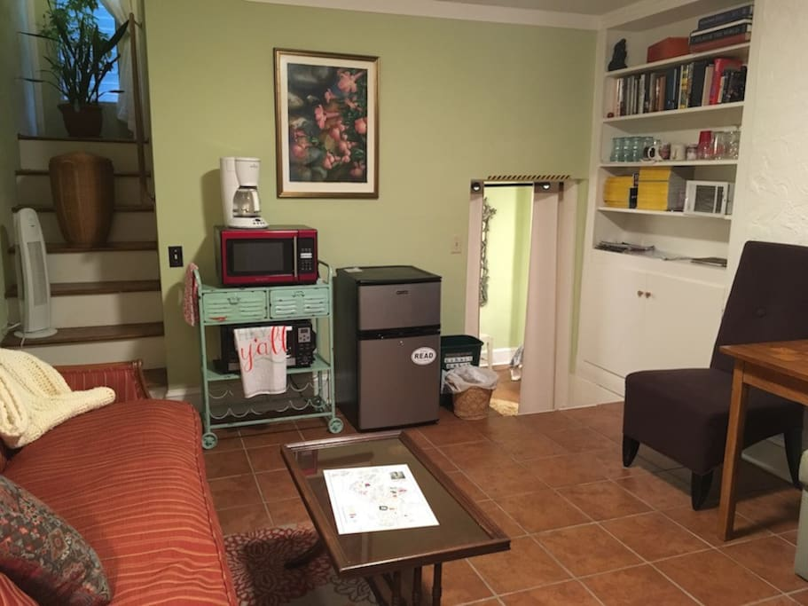 Appliances included are a microwave, toaster oven, refrigerator, coffee machine. No kitchen Sink, NO TV, YES WiFi. Steps up on the left got to sealed outside door and locked door to upstairs rental tenant area.