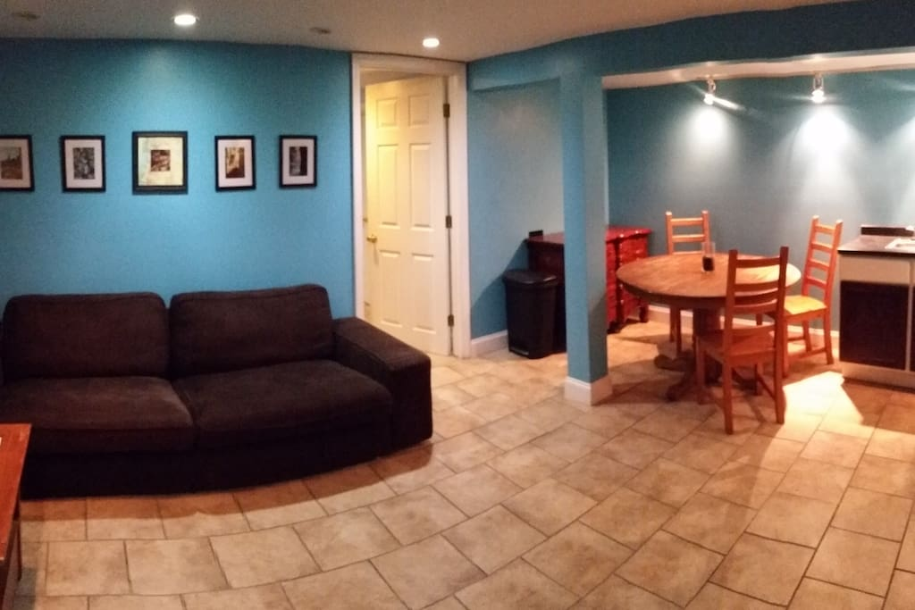 Looking from entrance hallway into living room and kitchenette. The open door leads to the bedroom.