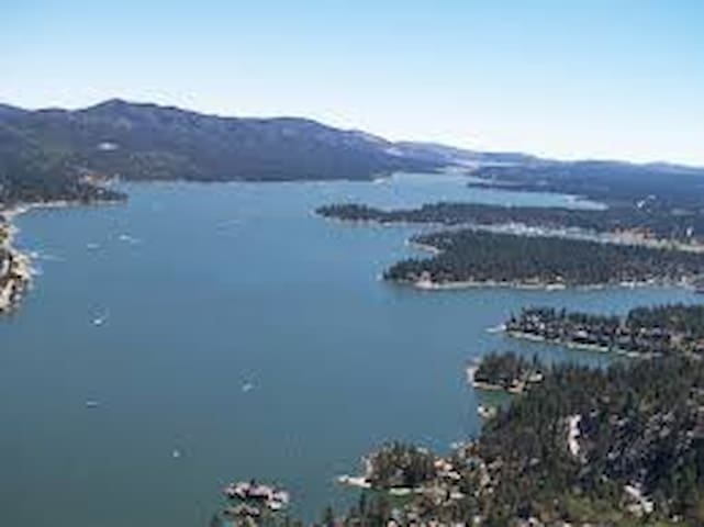 BIg Bear Lake. Closest distance from cabin to the lake is 0.3 mile.
