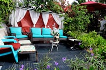 With 8 different areas for you to make TIME TO RELAX. YES, YOU CAN HAVE PRIVATE TIME. TO READ, TO DO YOGA, TO BE IN NATURE & SEE BUTTERFLIES. PARADISE GARDEN SETTING FULL OF COMFORTABLE, RELAXING PATIO FURNITURE.  ITS YOUR VACATION, SO ITS YOUR WAY.