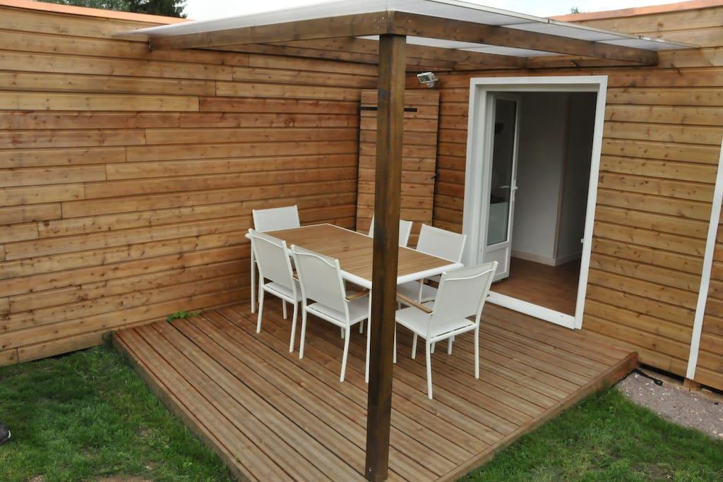 salon de jardin, terrasse en bois 9m²