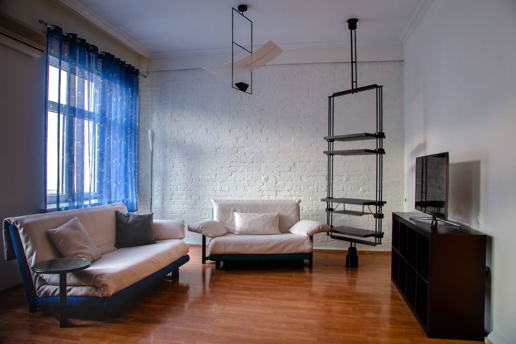 Living room with two sofa beds