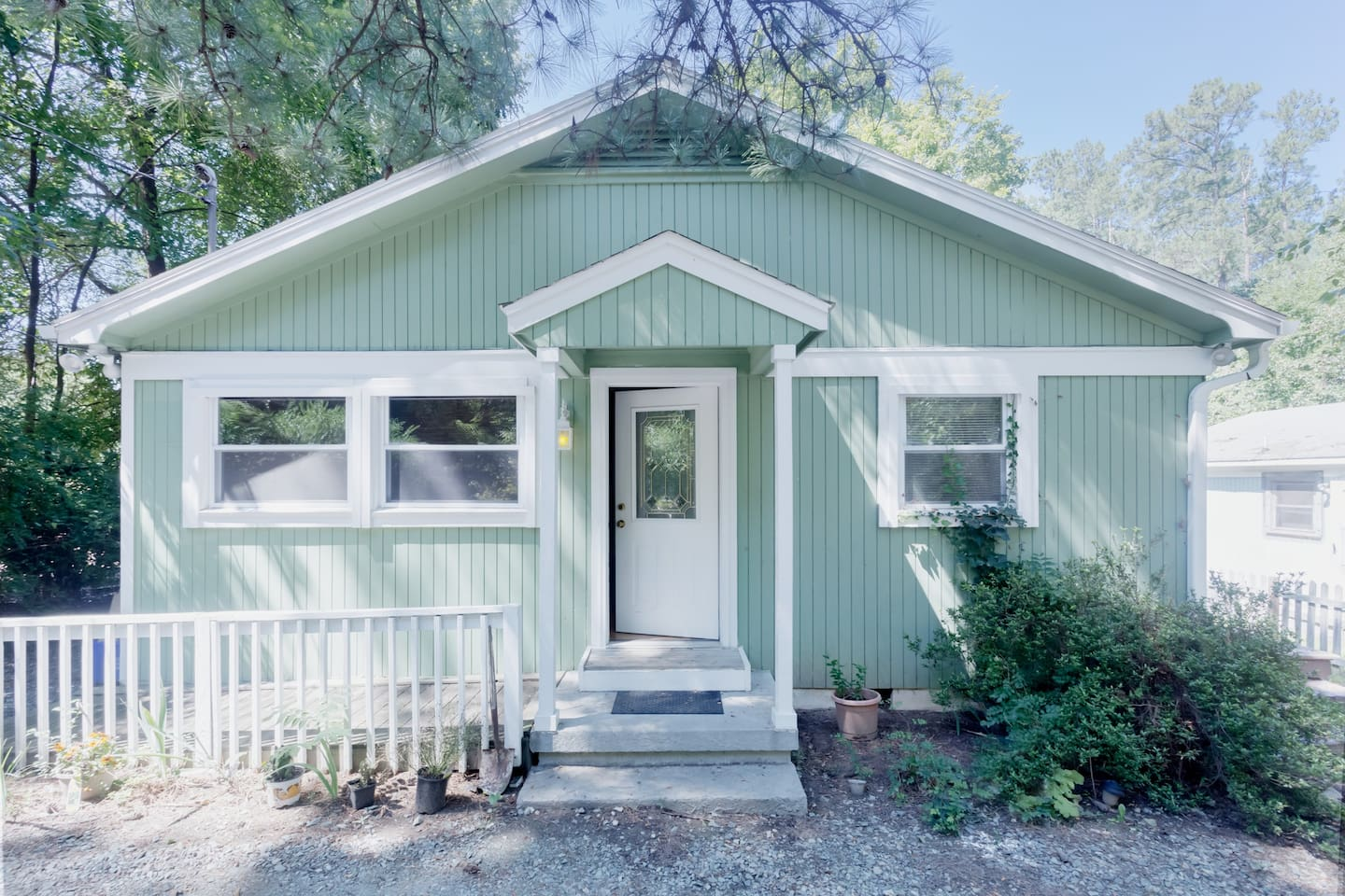 You will have the front of this house with a private entrance, bedroom, 2 baths,  and kitchen.  All of it is for you -- only the yard and parking is shared with rear neighbor.