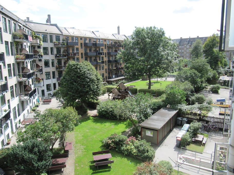 Really big and beautiful garden. Benches, grills and areas with grass