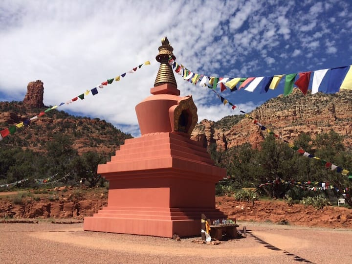 We will meditate by the Amitabha Stupa.