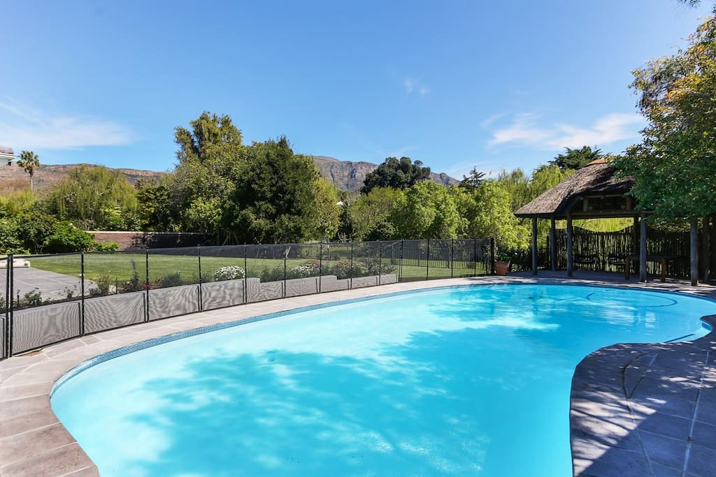 Large pool with mountain views