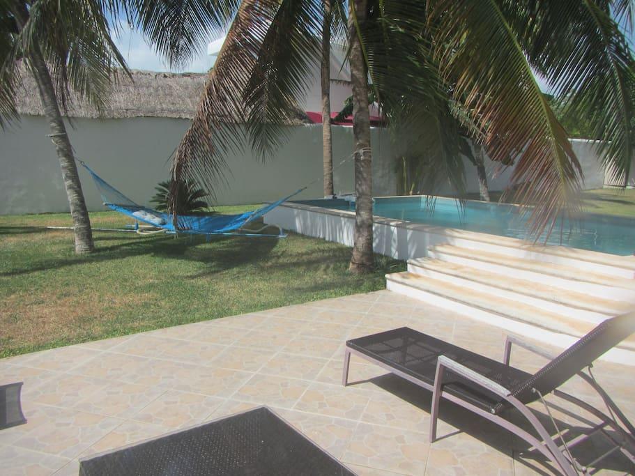 Hammock, patio and swimming pool.