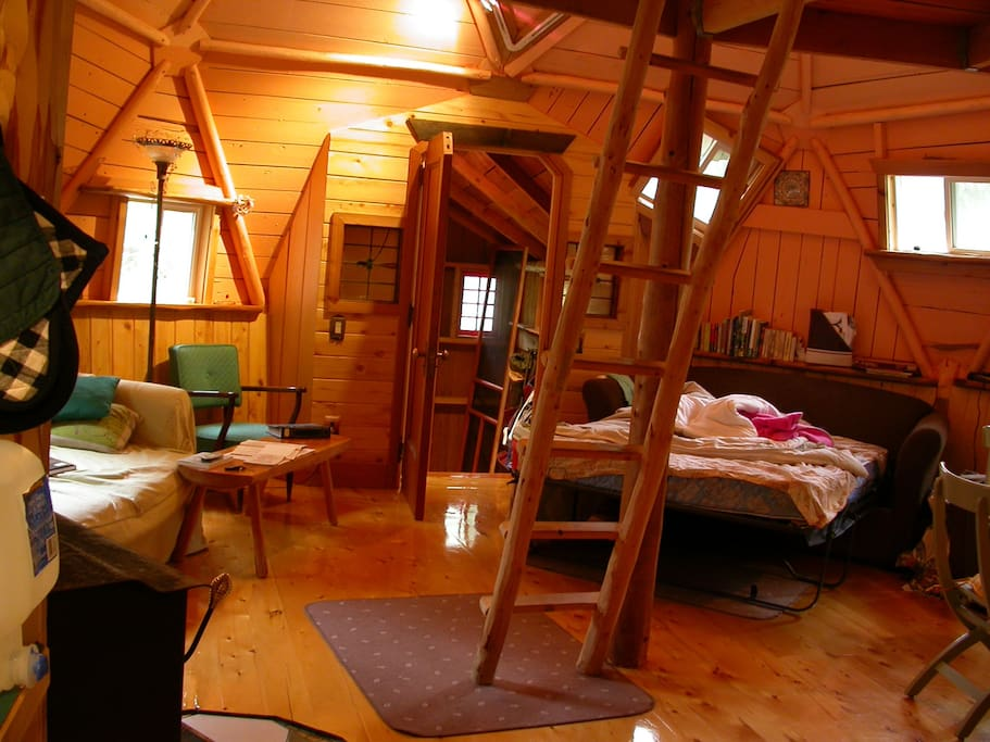 In the main area, one of the beds open, ladder is for the loft area