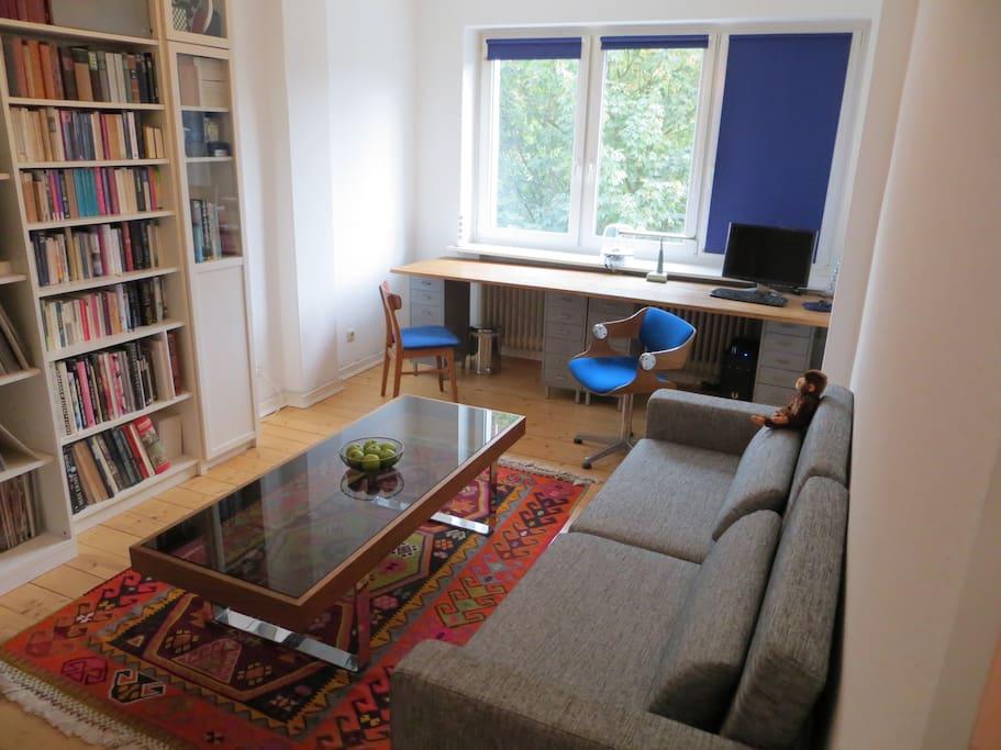 Wohnzimmer/living-room: sofa, stylish table, bookshelves, Hi-Fi.