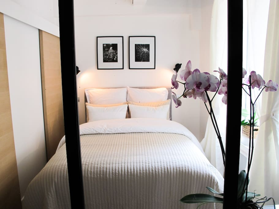 Queen size bed, chest of drawers, wall closet, large  double glass window.