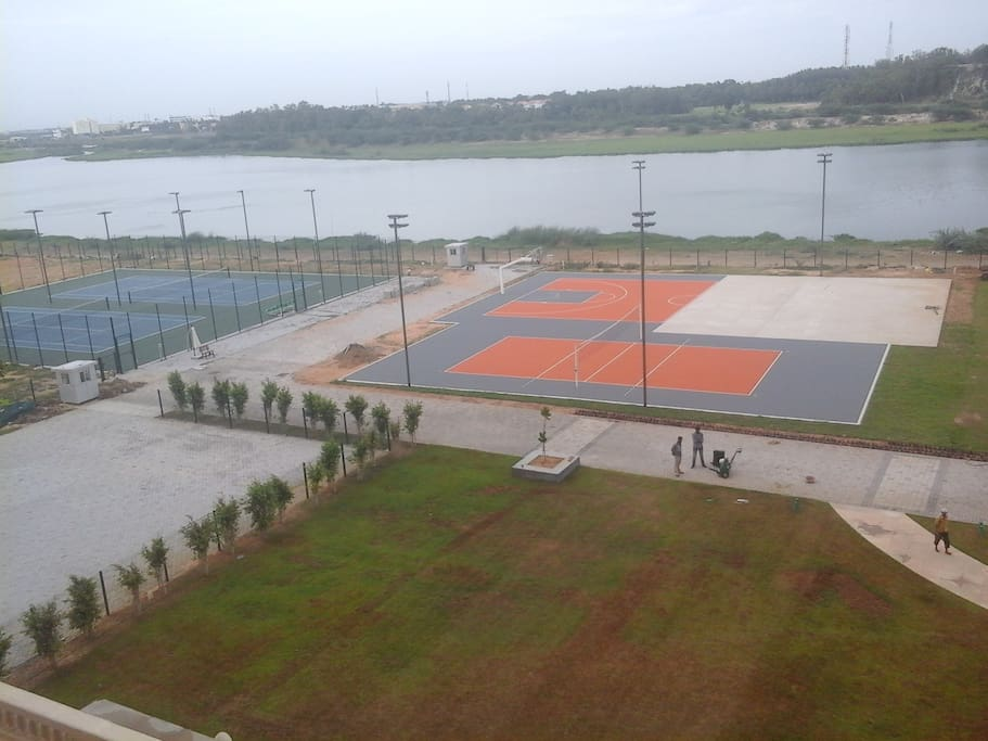 River facing Basket ball court