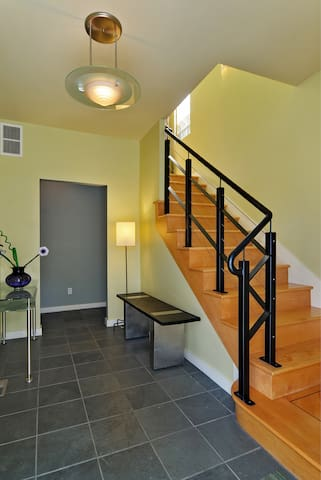 Welcoming entry hallway leads to your own separate entrance to your apartment.   (16 steps)    We are happy to help you with transporting your luggage at the beginning and end of your stay.