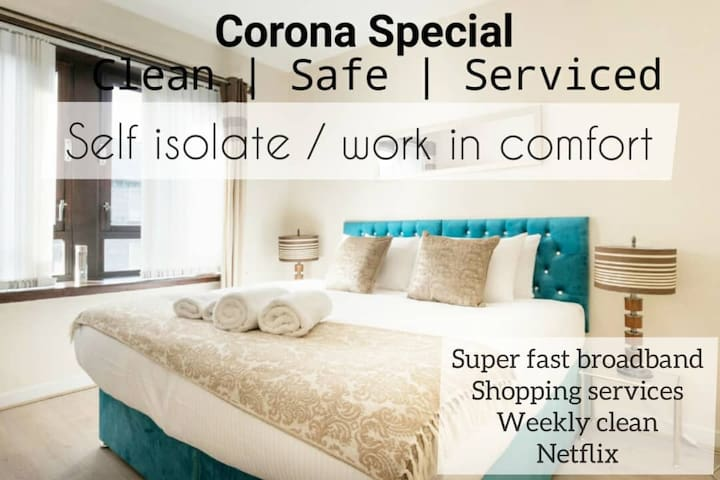 Isolate in comfort, weekly deep clean and shopping